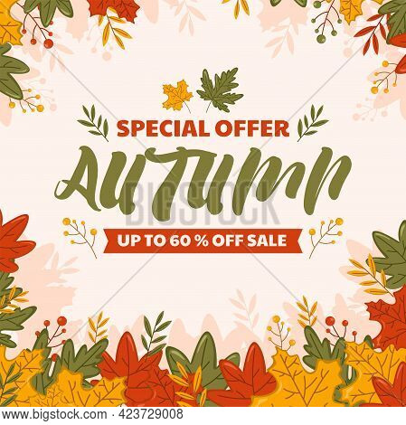 Abstract Illustration Autumn Sale Background With Falling Autumn Leaves. Fall Sale Discount Poster T