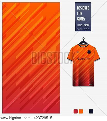Soccer Jersey Pattern Design. Geometric Pattern On Orange Abstract Background For Soccer Kit, Footba