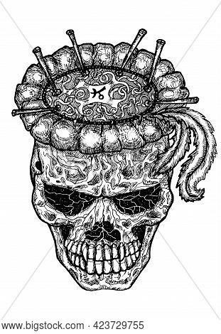 Black And White Scary Illustration Of Vector Demon Skull. Mystic Isolated Drawing For Halloween With