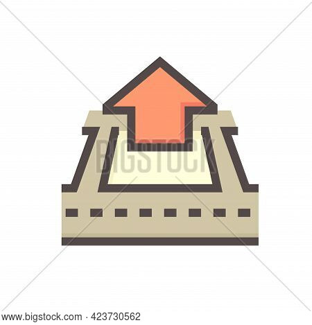 House Building In Land Lot And Access Road Vector Icon In Perspective View. That Real Estate Or Prop