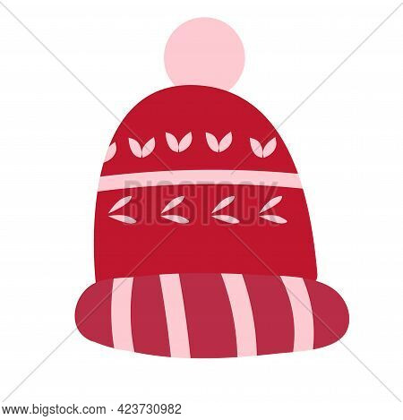 Red Knitted Winter Hat Isolated On White Background