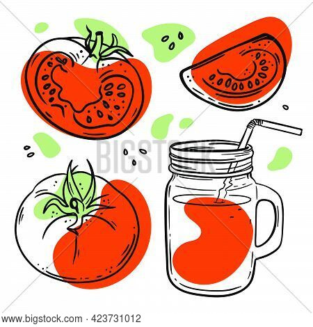 Tomato Juice In Glasslock With Juicy Ripe Vegetable Smoothie For Design Of Organic Natural Products