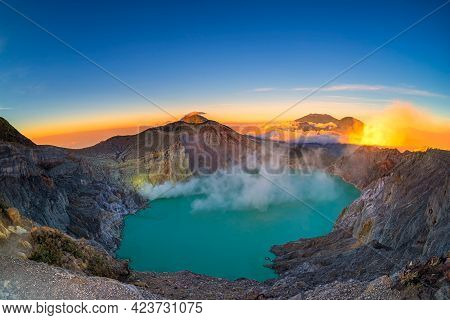 Beautiful View Of Kawah Ijen Lake And Volcano Early Morning At East Java, Indonesia. The Most Famous
