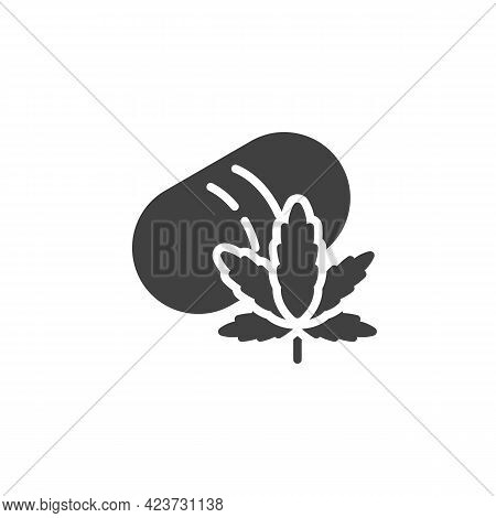 Medical Cannabis Vector Icon. Filled Flat Sign For Mobile Concept And Web Design. Cannabis Leaf And
