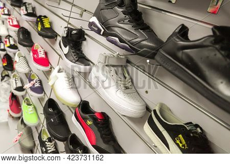 Almaty, Qazaqstan - September 21, 2019: A Shoe Stand In A Sports Shoe Store. Various Collections Of