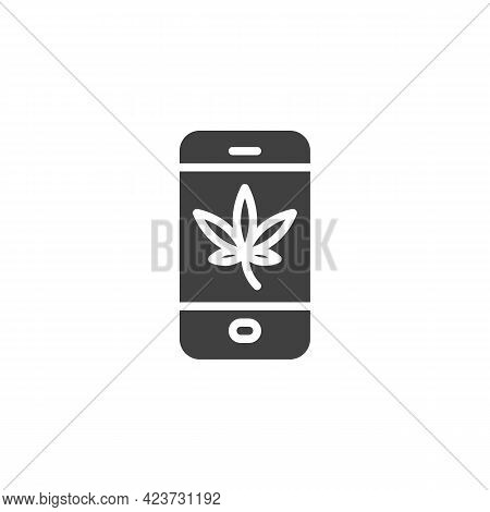 Online Cannabis Shop Vector Icon. Filled Flat Sign For Mobile Concept And Web Design. Cellphone With