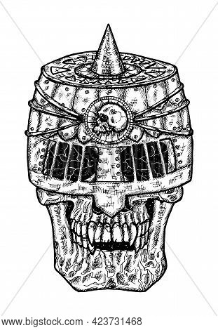 Black And White Scary Illustration Of Vector Skull Wearing Knight Helm.  Mystic Isolated Drawing For