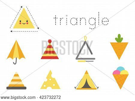 Geometric Shapes For Children. Worksheet For Learning Shapes. Triangular Objects.