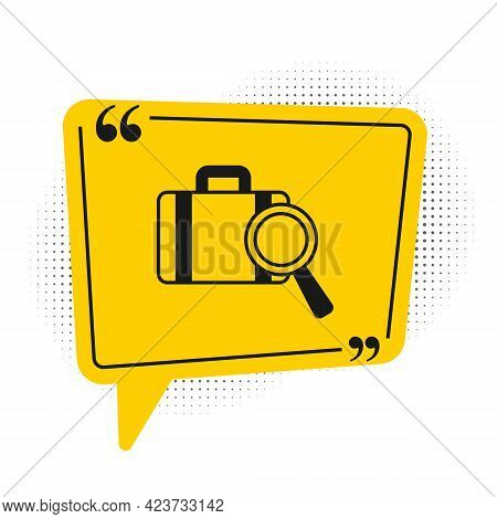 Black Airline Service Of Finding Lost Baggage Icon Isolated On White Background. Search Luggage. Yel