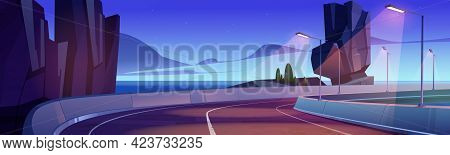 Car Road On Sea Shore At Sunset Or Sunrise. Vector Cartoon Landscape Of Ocean Shore, Mountains And H