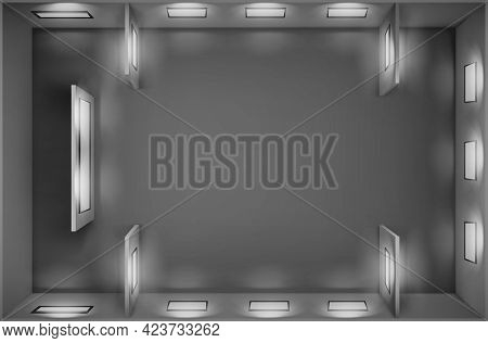 Top View Of Empty Gallery With Blank Picture Frames Illuminated By Spotlights. Vector Realistic Inte