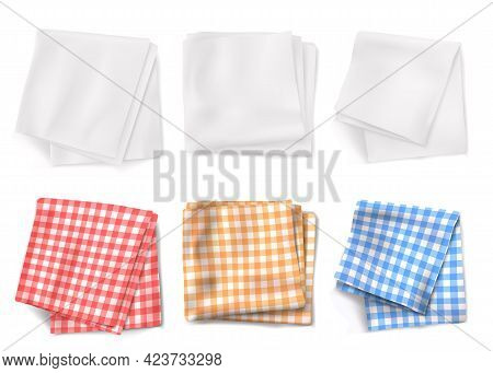 Gingham Tablecloths And White Kitchen Towels Top View. Vector Realistic Set Of 3d Folded Table Cloth