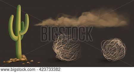 Cactus, Brown Dust Clouds And Tumbleweed, Dry Weed Balls Isolated On Gray Background. Vector Realist