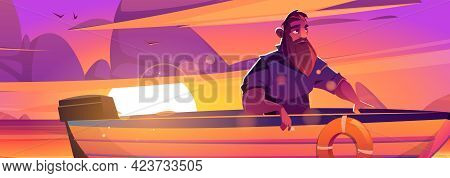 Enjoy Moment Poster With Man In Boat On Sunset Background. Vector Banner Of Tranquility Rest At Natu