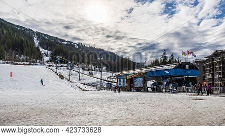 Revelstoke, Canada - March 15, 2021: Revelation Gondola At Ski Resort Early Spring