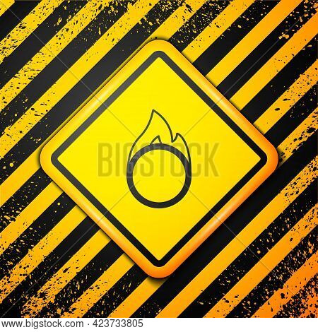 Black Circus Fire Hoop Icon Isolated On Yellow Background. Ring Of Fire Flame. Round Fiery Frame. Wa