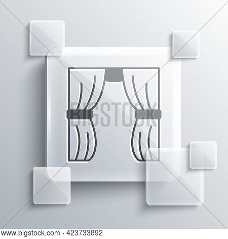 Grey Circus Curtain Raises Icon Isolated On Grey Background. For Theater Or Opera Scene Backdrop, Co