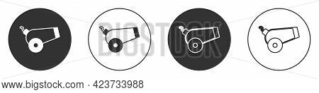 Black Cannon Icon Isolated On White Background. Circle Button. Vector