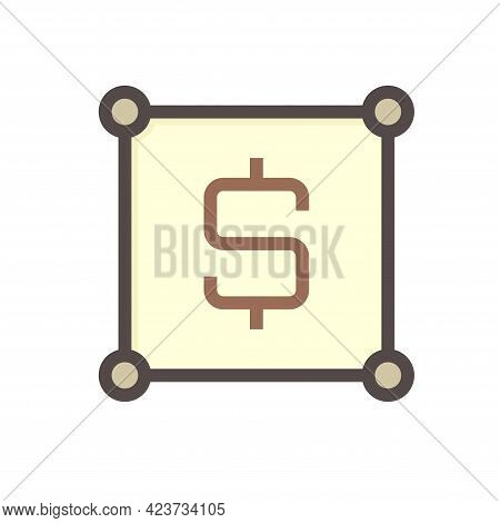 Land Plot Vector Icon. Consist Of Empty Area, Position Pin Point, Road And Location. Real Estate Or