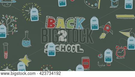 Composition of blue schoolbags over back 2 school text and chalk drawings on chalkboard. school, education and study concept digitally generated image.