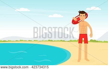 Man Lifeguard Or Rescuer Supervising Safety And Rescuing Swimmers And Surfers Vector Illustration