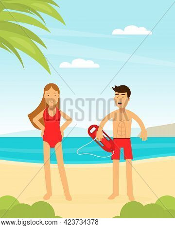 Man And Woman Lifeguard Or Rescuer Supervising Safety And Rescuing Swimmers And Surfers Vector Illus