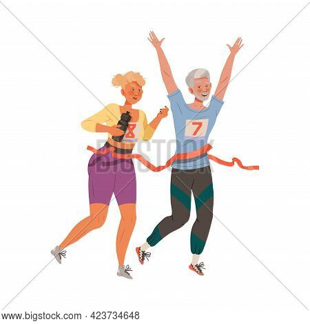 Man And Woman Character Running Marathon Doing Sport And Physical Exercise Training Body And Muscle