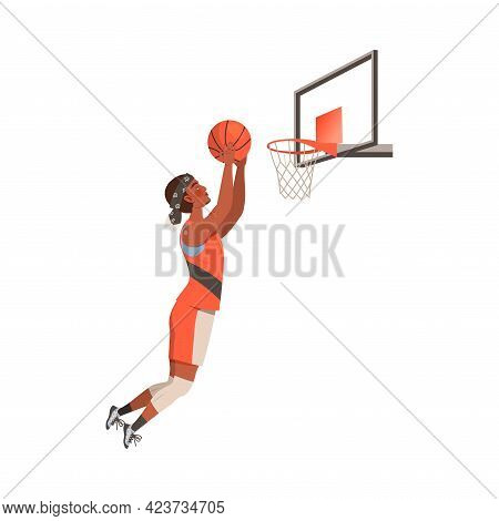 Young Man Playing Basketball Doing Sport And Physical Exercise Training Body And Muscle Vector Illus