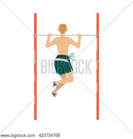 Young Man Character Doing Chin Up Or Pull Ups As Sport And Physical Exercise Training Body And Muscl