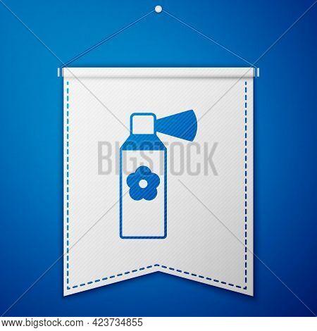 Blue Air Freshener Spray Bottle Icon Isolated On Blue Background. Air Freshener Aerosol Bottle. Whit
