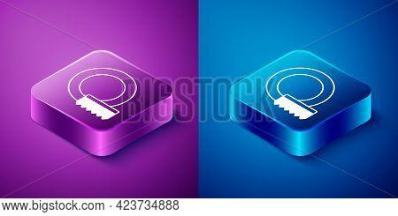 Isometric Washing Dishes Icon Isolated On Blue And Purple Background. Cleaning Dishes Icon. Dishwash