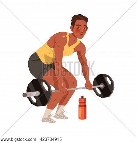 Young Man Character Lifting Heavy Weight Bar Doing Sport And Physical Exercise Training Body And Mus