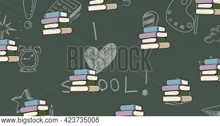 Composition of repeated stacks of books over chalk drawings and i heart school written on chalkboard. school, education and study concept digitally generated image.