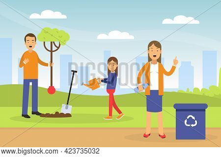Young Man With Daughter Planting Tree And Woman Gathering Plastic For Recycling Contributing Into En