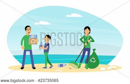 Young Man And Woman With Son Gathering Plastic Bottles For Recycling Contributing Into Environment P