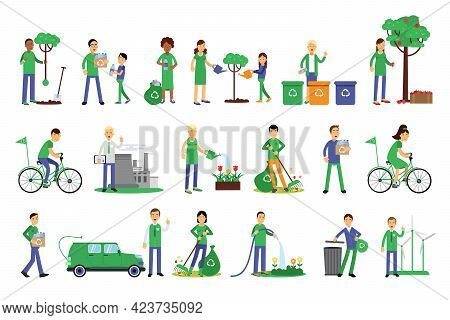 People Characters Contributing Into Environment Preservation By Recycling And Sorting Trash Vector I