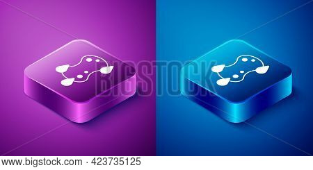 Isometric Sponge Icon Isolated On Blue And Purple Background. Wisp Of Bast For Washing Dishes. Clean