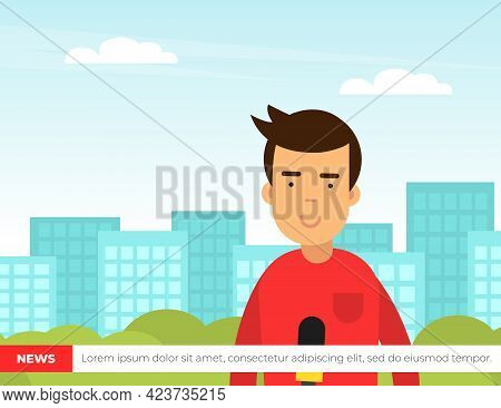 Male Journalist Conducting Interview On Television Broadcast Reporting News And Information Vector I