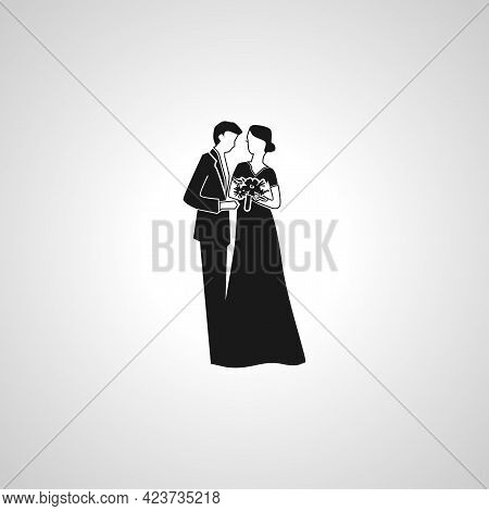 Wedding Married Couple. Bride And Groom Isolated Simple Vector Icon