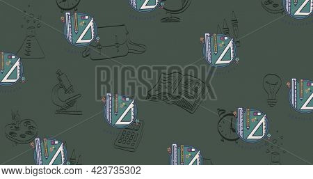 Composition of repeated school stationery over black school related drawings on chalkboard. school, education and study concept digitally generated image.