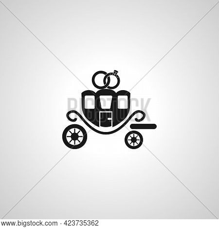 Wedding Carriage Isolated Simple Vector Icon. Wedding Carriage Isolated Simple Vector Icon.
