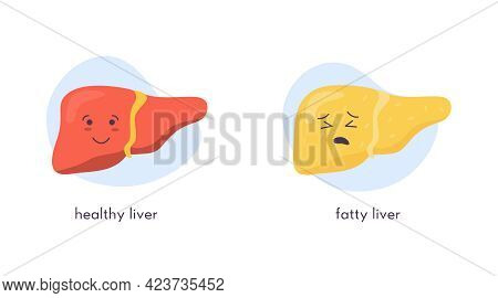 Unhealthy Fatty And Healthy Happy Liver Character. Sad Kawaii Crying Suffering And Smiling Strong Ic