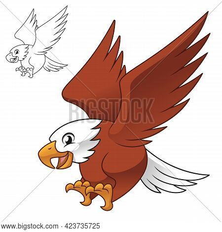 Cute Happy Eagle Falcon Hawk Flying Ready Pounce Prey with Line Art Drawing, Animal Birds, Vector Character Illustration, Cartoon Mascot Logo in Isolated White Background.