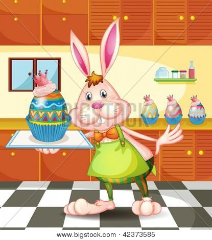 Illustration of a bunny baking an egg-designed cupcakes