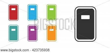 Black Police Assault Shield Icon Isolated On White Background. Set Icons Colorful. Vector