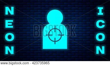 Glowing Neon Human Target Sport For Shooting Icon Isolated On Brick Wall Background. Clean Target Wi
