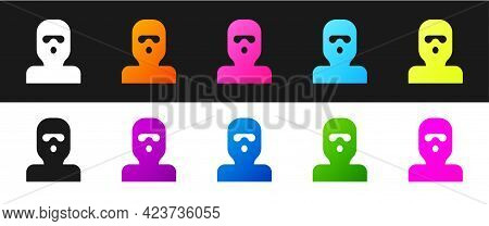 Set Thief Mask Icon Isolated On Black And White Background. Bandit Mask, Criminal Man. Vector