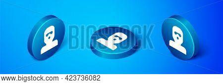 Isometric Thief Mask Icon Isolated On Blue Background. Bandit Mask, Criminal Man. Blue Circle Button