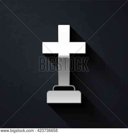 Silver Man Graves Funeral Sorrow Icon Isolated On Black Background. The Emotion Of Grief, Sadness, S