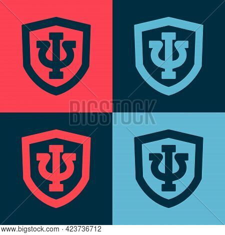 Pop Art Psychology Icon Isolated On Color Background. Psi Symbol. Mental Health Concept, Psychoanaly